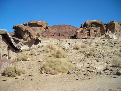 Miner's cabin on the hillside.