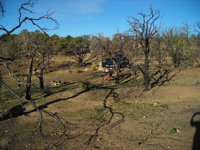 Our campsite at Mid-Hills campground.  We camped here with the southern california 4x4 geocachers