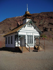 Schoolhouse  This is one of the few buildings that really looked original and untouched, but it wasn't open. Everything else was pretty much rebuilt and turned into a shop.