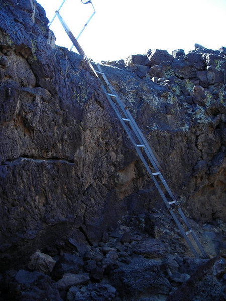 The rickety ladder used to get into the cave.