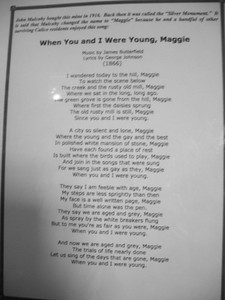 Lyrics  A blurry shot of the song that inspired the mine's name. The big photo is mostly readable..