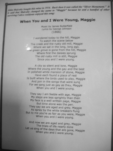 Lyrics<br /> <br /> A blurry shot of the song that inspired the mine's name. The big photo is mostly readable..