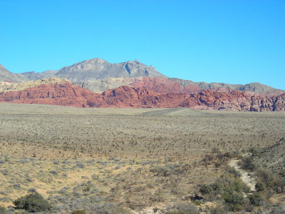 View of the Calico rocks from a distance.