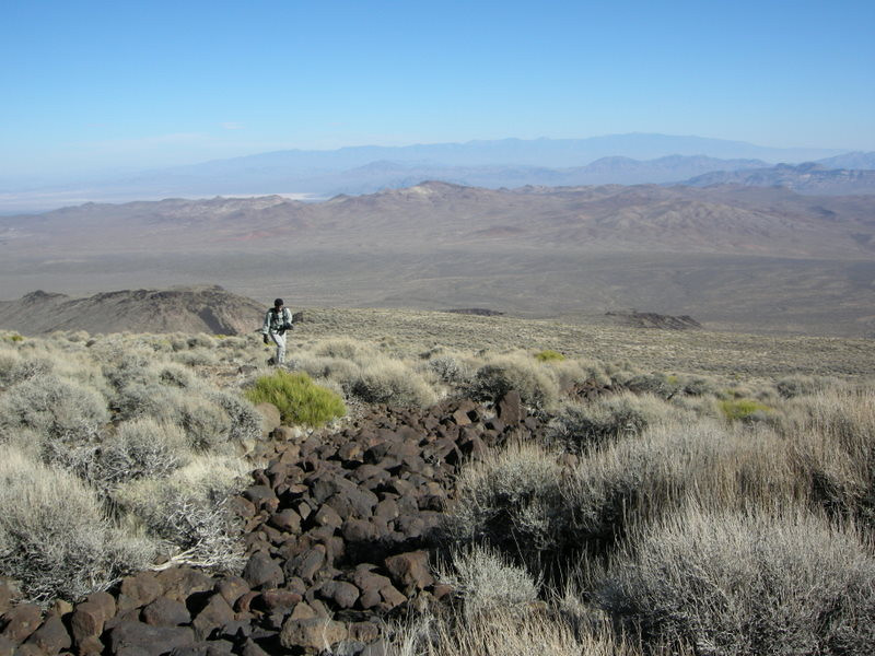 Here comes David<br /> <br /> Notice all the volcanic rock. It was really annoying to hike over.