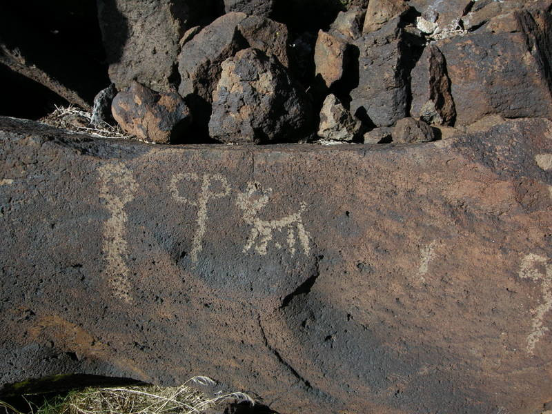 Sheep and spear (line with circle/loops at end)<br /> <br /> according to Rock Art Symbols by Patterson