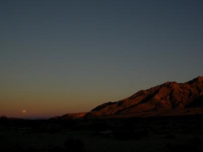 Pyramid Peak slopes and moonset