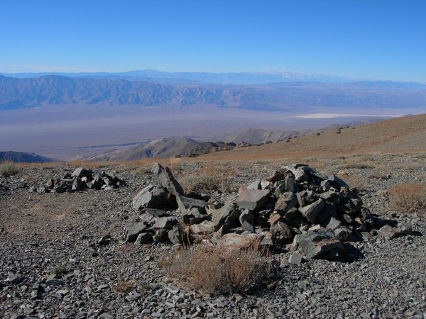 The mountains in the far background are the Sierra (Mt Whitney)<br /> <br /> From telescope you can see the highest and lowest points in the 48 states from one place