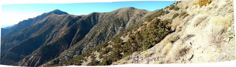 Telescope and the narrow trail that follows the ridge toward the peak.