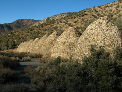 Charcoal kilns in the afternoon light  (Wildrose peak in the background)