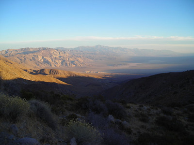 The sun is setting over the Panamint Valley  And it is cold. When we stopped to take this photo I changed from my shorts and tank top into fleece layers. I would need them for the rest of the trip.