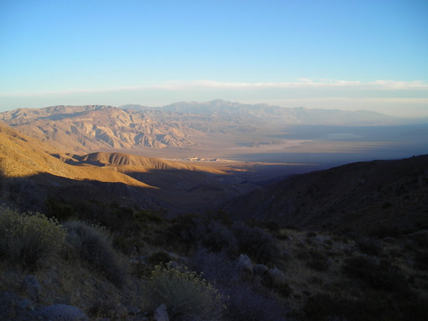 The sun is setting over the Panamint Valley<br /> <br /> And it is cold. When we stopped to take this photo I changed from my shorts and tank top into fleece layers. I would need them for the rest of the trip.