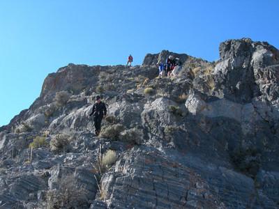 Descending just below the summit