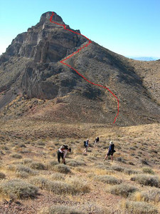The route up Thimble Peak  The red line indicates the class 2 route we found up the peak. Actually, we went up a harder way but came down this way.