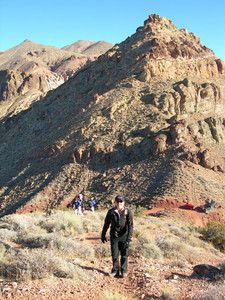 Bex and crew hiking up and up  See cars below us parked at Red Pass