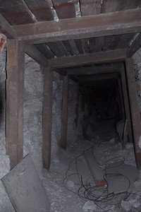 Inside one of the talc mines. Notice the old 'scoops' in the tunnel. I didn't want to go in very far - these mines are really unstable since the talc is so soft.