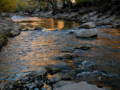 Sunset reflections on the Virgin river.
