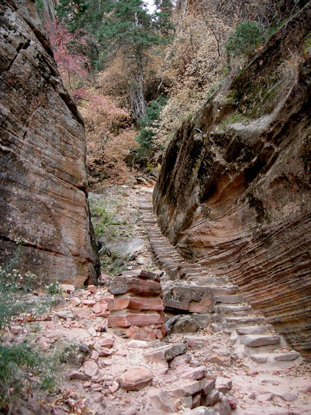 Next, we climbed up to the Hanging Canyon<br /> <br /> The trail was cool - a lot of it along rock ledges.