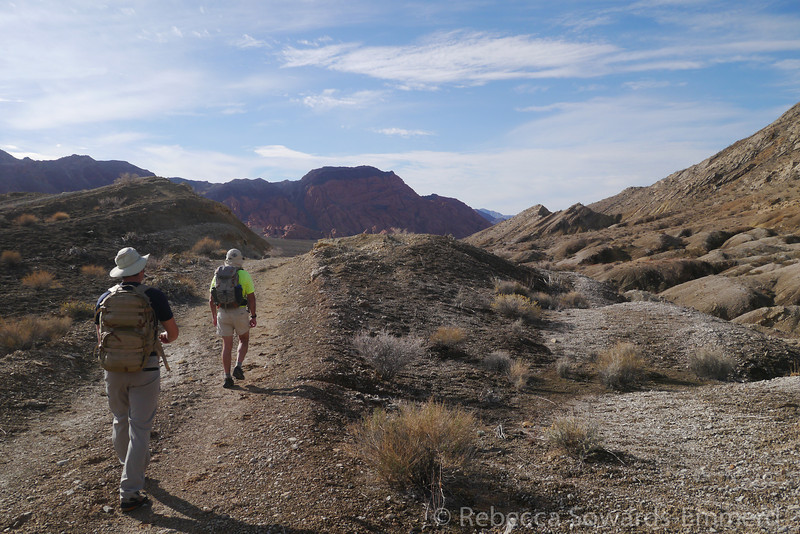 We met up with Harlan and drove out to Lake Mead to climb the unofficially named 'Sentinel' peak. From our parking along the road we picked up an old two track that took us towards our target - that peak straight ahead.