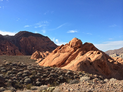 Red rocks in Pinto Valley - and our target lurking in the background.