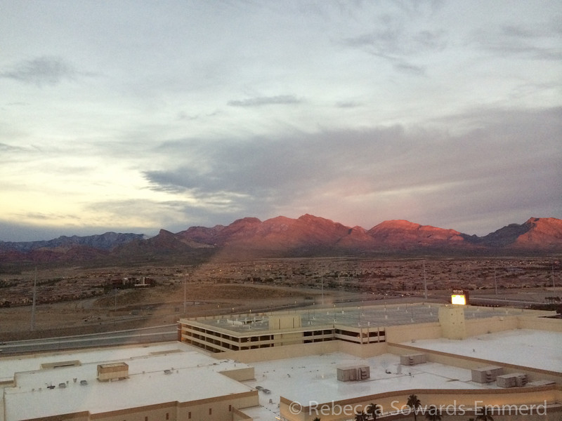 View from our room in the Red Rock Casino. Gorgeous sunrise!