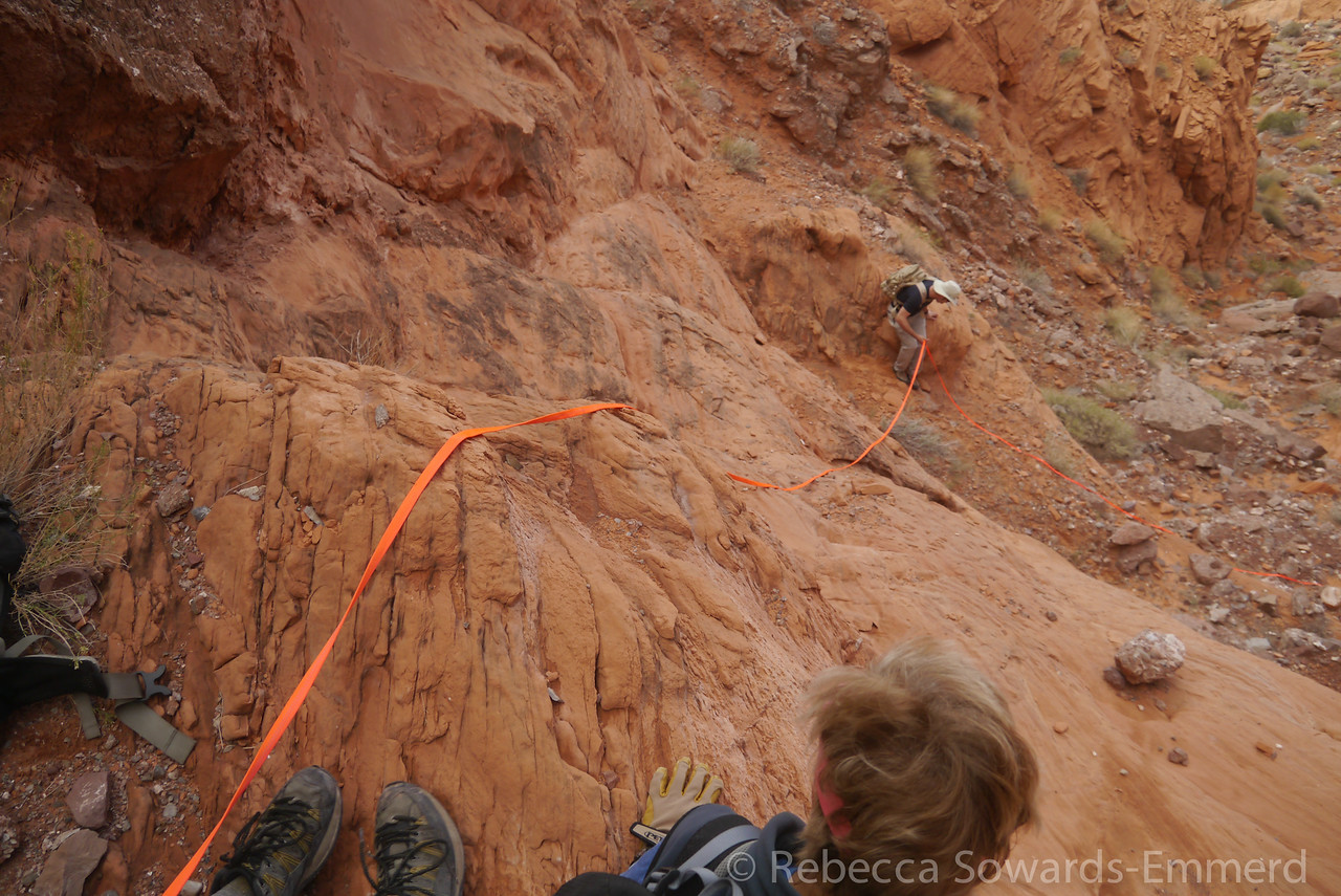 When we get to the red rock we take things slowly and carefully since the recent rain has made things slicker than usual. We set up a hand line for a couple of the steeper sections.