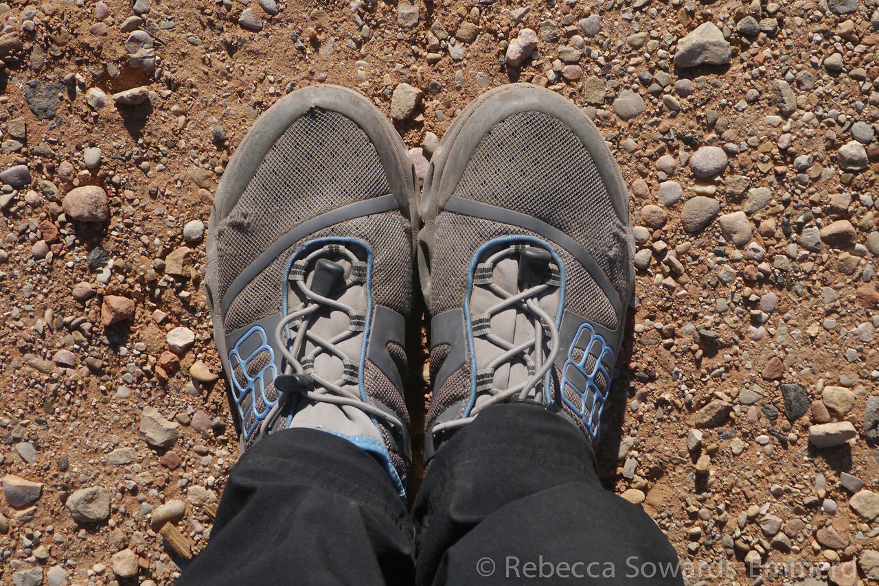 I decided to wear an older pair of Columbia Power drain watershoes with neoprene socks. The shoes would be great for both hiking on trail and in water, and the neoprene would keep my feet warm in the cold creek water.