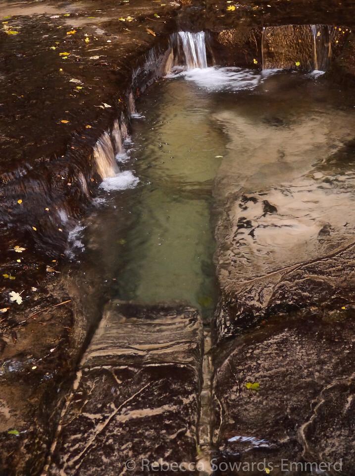 Deep pool along the crack.