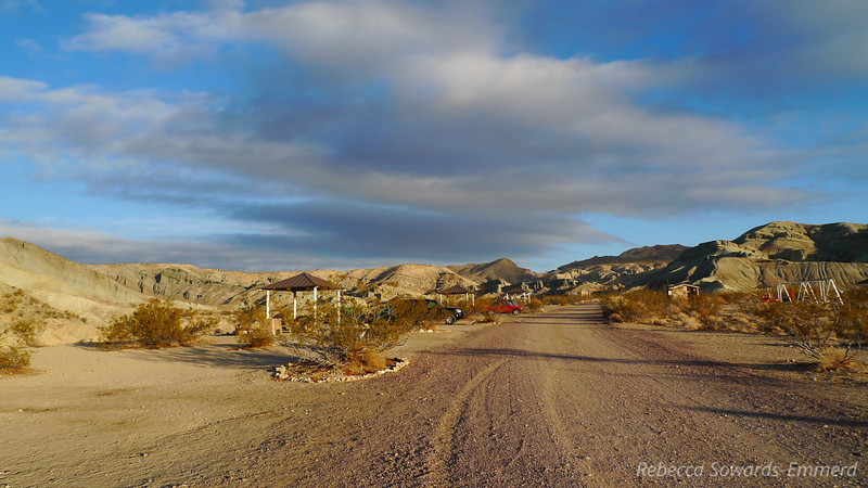 After driving out on Friday night, we awoke to some gorgeous color and light in the campground at Rainbow basin.