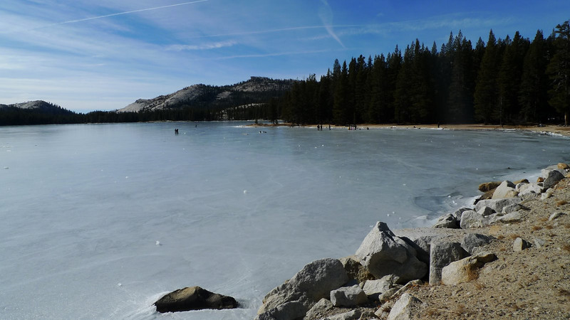 Sunday, we drove home over the still-open Tioga Pass. Lots of people skating and enjoying the frozen Tenaya Lake.