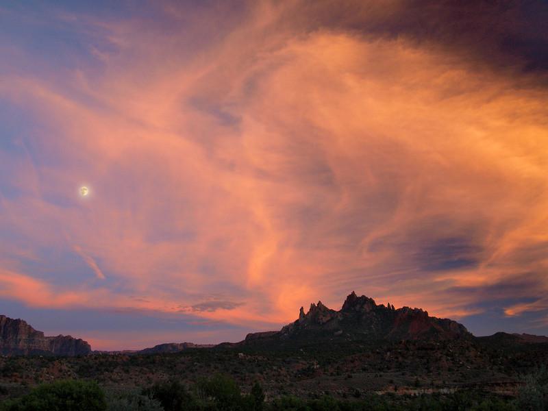 Moon over Caanan Mountain - Zion National Park