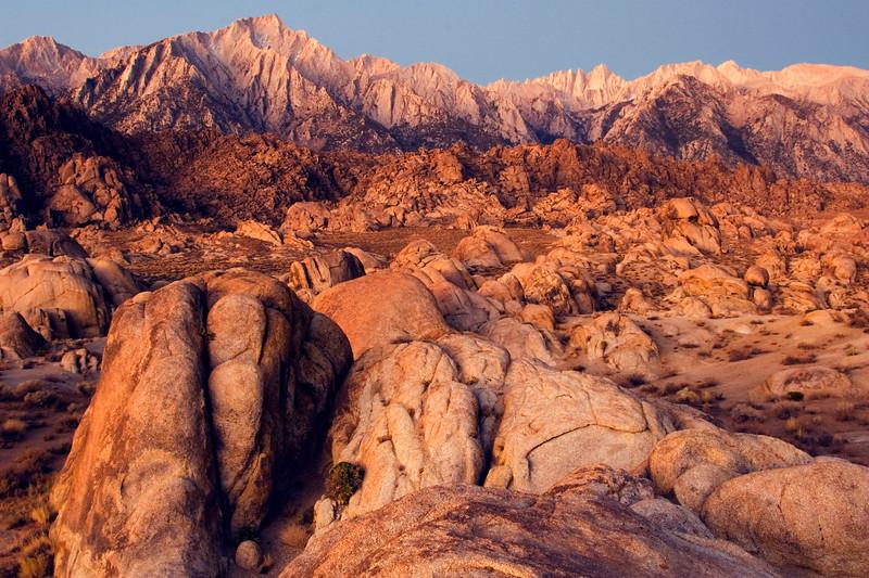 Dawn at the Alabama Hills with Sierra Nevada.