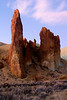 Rock formation in Leslie Gulch at twilight.
