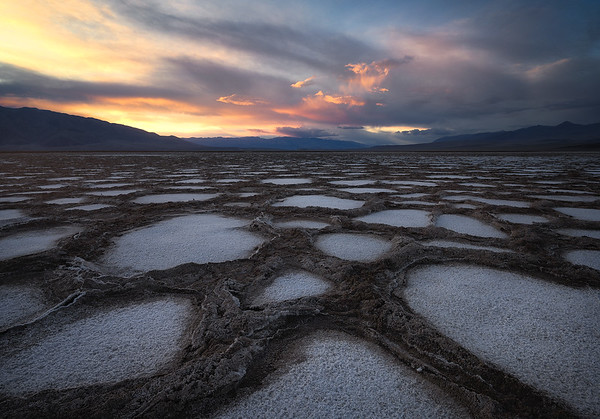 Unique patterns along Death Valley's floor during sunset