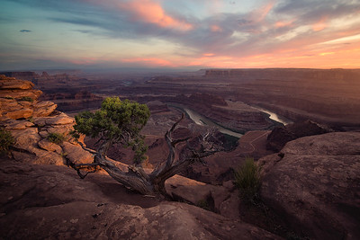 A smokey sunset at Dead Horse Point, Utah