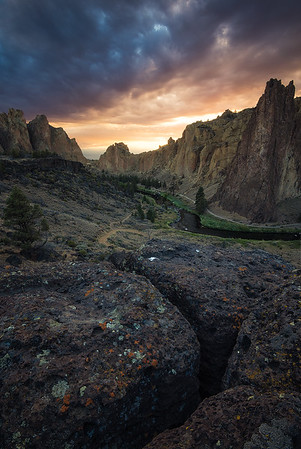 A smokey sunset at Smith Rock State Park, Oregon
