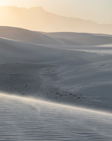 The harsh spring winds whip sand over the dunes in glow of golden hour light at White Sands National Monument.