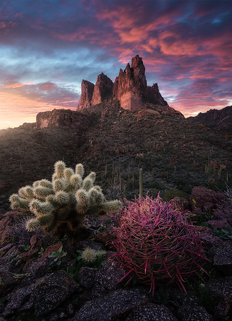 A beautiful sunset over Three Sisters Peak, Arizona