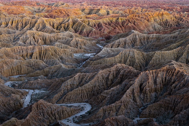 Taken after sunset from spectacular Fonts Point in Anza Borrego Desert State Park, while beautiful bounce light lit up the badlands below.