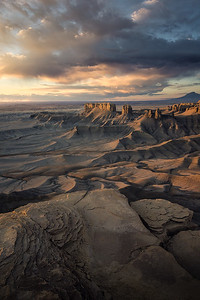 Beautiful morning light illuminates Utah's southern badlands