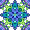 abstract floral kaleidoscope, geometric seamless pattern