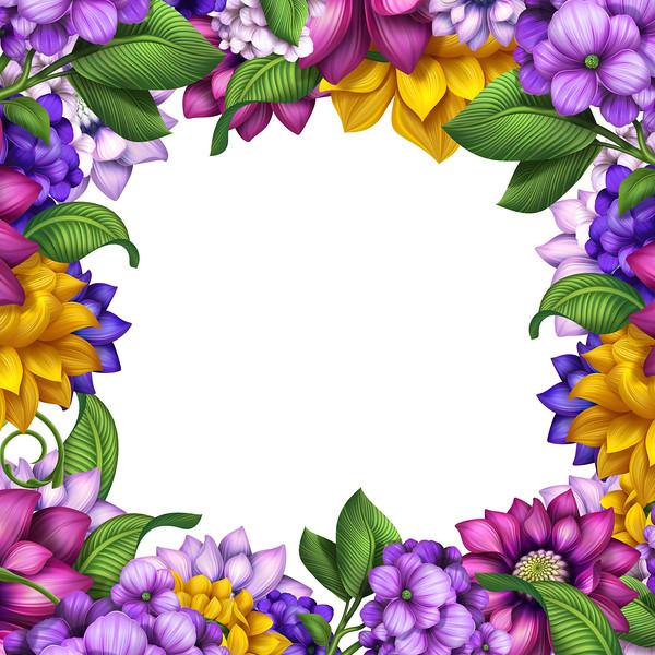 square floral banner frame, assorted flowers illustration