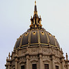 San Francisco City Centre Dome - the Dome which owes much to Mansart's Baroque dome of Les Invalides, Paris, is the fifth largest dome in the world, rising 307.5 feet (94 m) above the Civic Center Historic District. It is fourteen inches (35 cm) higher than the United States Capitol, and has a diameter of 66 feet (20 m), resting upon 4 x 50 ton (3.5 x 44.5 metric ton) and 4 x 20 ton girders (3.5 x 17.8 ton), each 9 feet (2.7 m) deep and 60 feet (18 m) long.