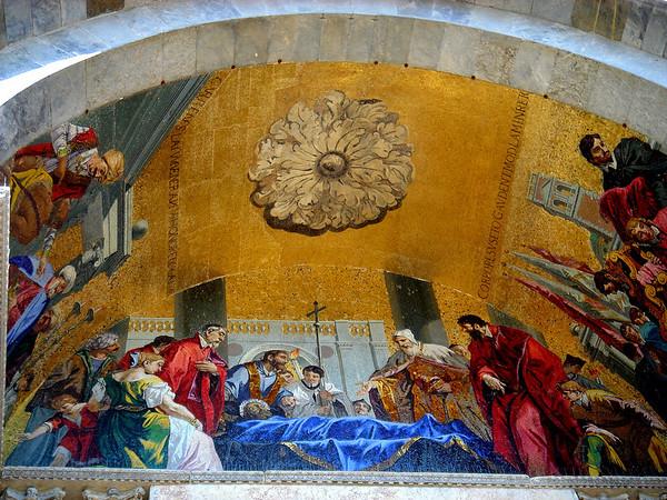 Outside the Basilica di San Marco, portal above one of the entrances, tympanum,Venezia (Venice)