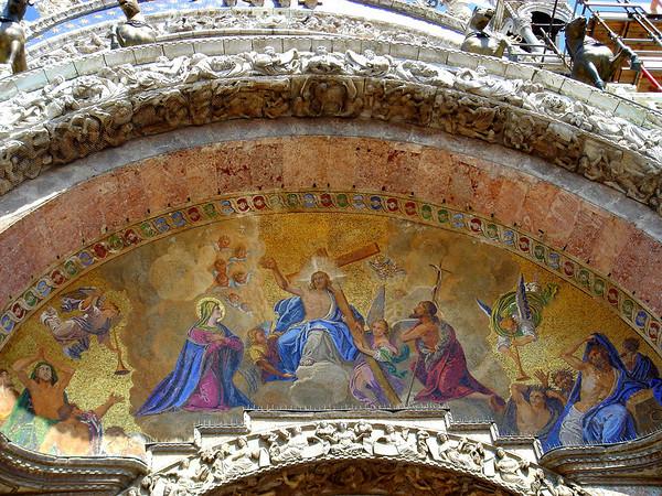 Outside the Basilica di San Marco, this is the above the main portal, tympanum, Venizia (Venice)
