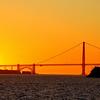 The most romantic scene ever.  Golden sunset over the Golden Gate Bridge in San Francisco.
