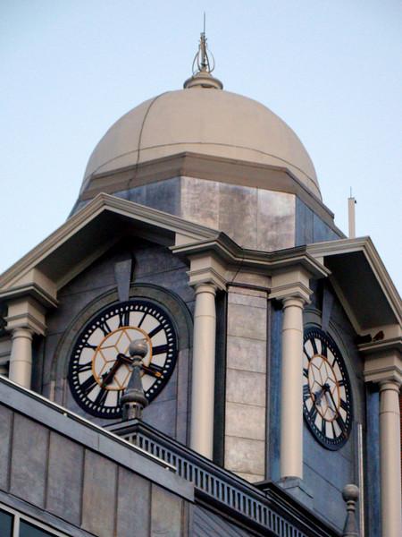 Clock tower above Brampton city hall, on Main street.