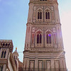 Bell Tower.<br /> <br /> The Basilica di Santa Maria del Fiore is the cathedral church (Duomo) of Florence, Italy, begun in 1296 and with major construction completed in 1436. The basilica is notable for its dome designed by Filippo Brunelleschi, its exterior facing of polychrome marble panels in various shades of green and pink bordered by white.