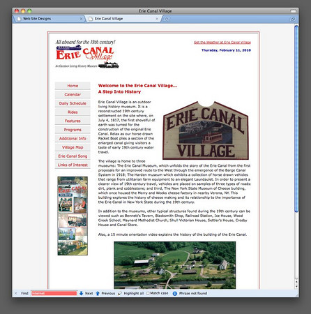 "Erie Canal Village<br />  <a href=""http://www.eriecanalvillage.net"">http://www.eriecanalvillage.net</a>"