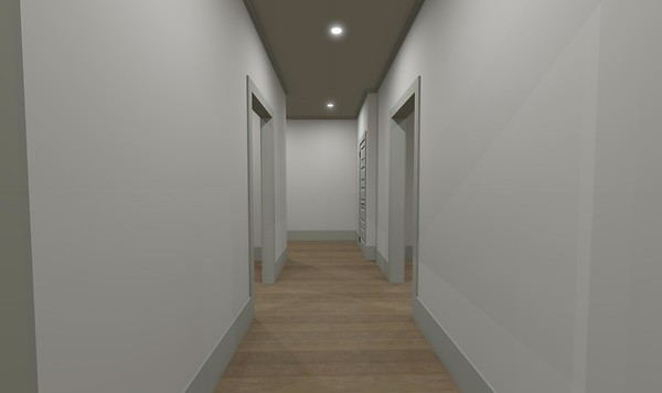This is an option for the main hallway, removing the cased opening at the end.