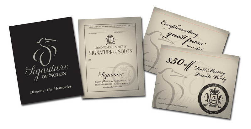 Design: Signature Golf Course antique passport-style discount book.